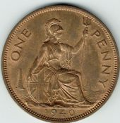 George VI, One Penny 1940 (Scarcer Year), AUNC, M9013
